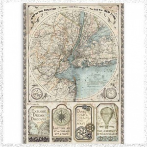 Stamperia A4 Rice Paper Sir Vagabond Map Of New York