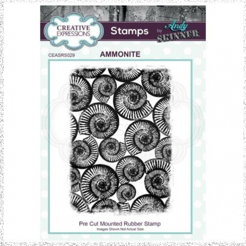 Creative Expressions Andy Skinner Ammonite 4.5 in x 3.2 in Rubber Stamp