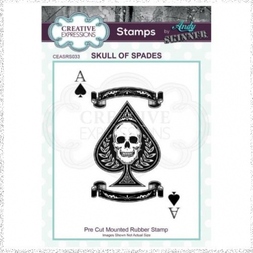 Creative Expressions Andy Skinner Skull of Spades 4 in x 2.8 in Rubber Stamp