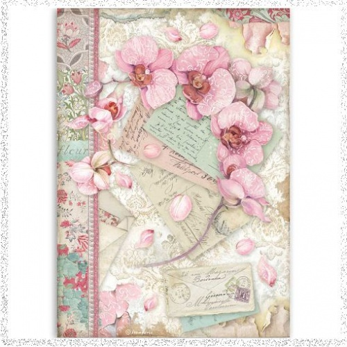 Stamperia A4 Rice Paper Pink Orchid