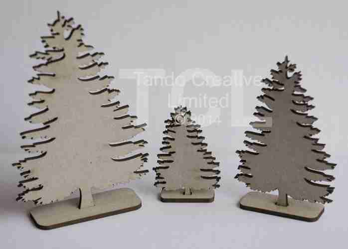 Fir Trees standing, set of 3