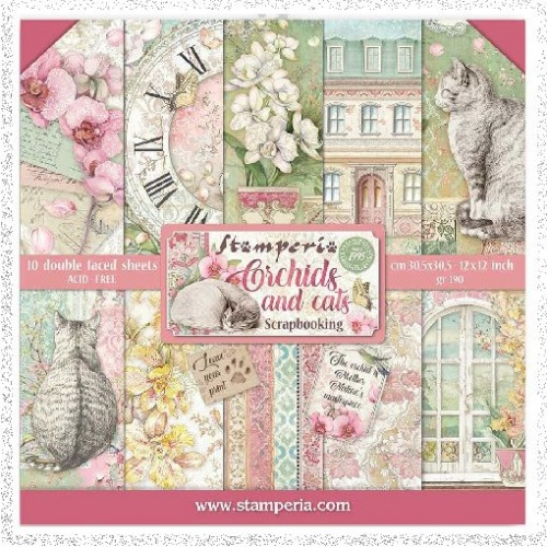 Stamperia Mini Scrapbooking Pad 10 Double Sided Sheets 20.3 x 20.3 cm (8″x8″) Orchids And Cats