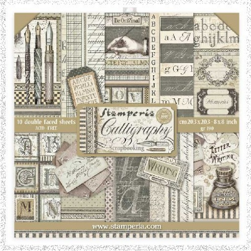 Stamperia Mini Scrapbooking Pad 10 Double Sided Sheets 20.3 x 20.3 cm (8″x8″) Calligraphy