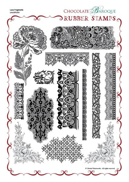 Chocolate Baroque: Lace Fragments UNMOUNTED A4 - A4