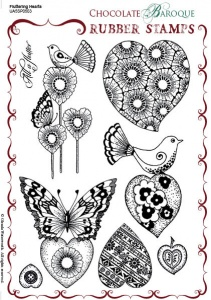 Chocolate Baroque: Fluttering Hearts UNMOUNTED A5